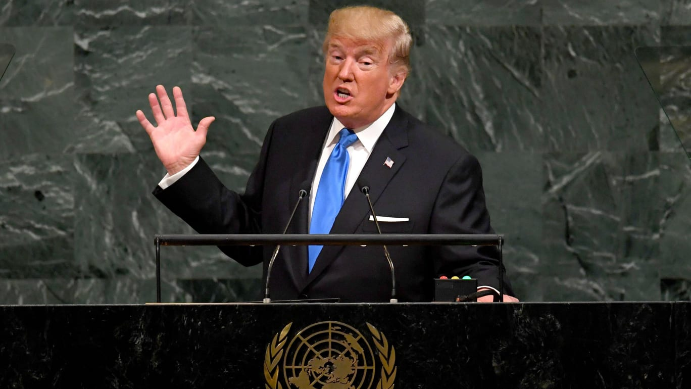 US President Donald Trump addresses the 72nd Annual UN General Assembly in New York on September 19, 2017.