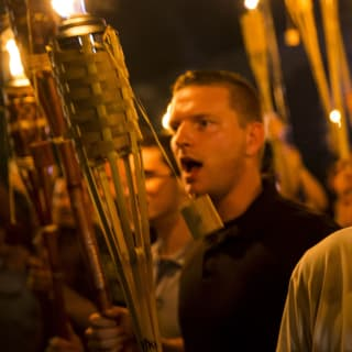 White supremacists riot in Charlottesville.