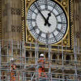 Construction work is carried out on the Elizabeth Tower, commonly known as Big Ben, in London.