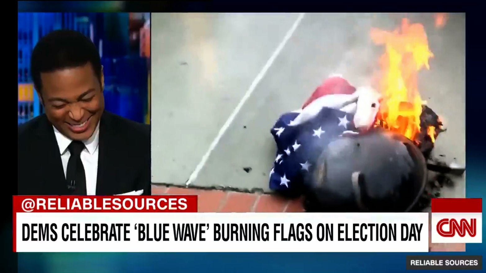 146ccf5fdc35 Election Hoax of Democrats Burning Flags to Celebrate 'Blue Wave' Goes  Viral on Twitter and Facebook