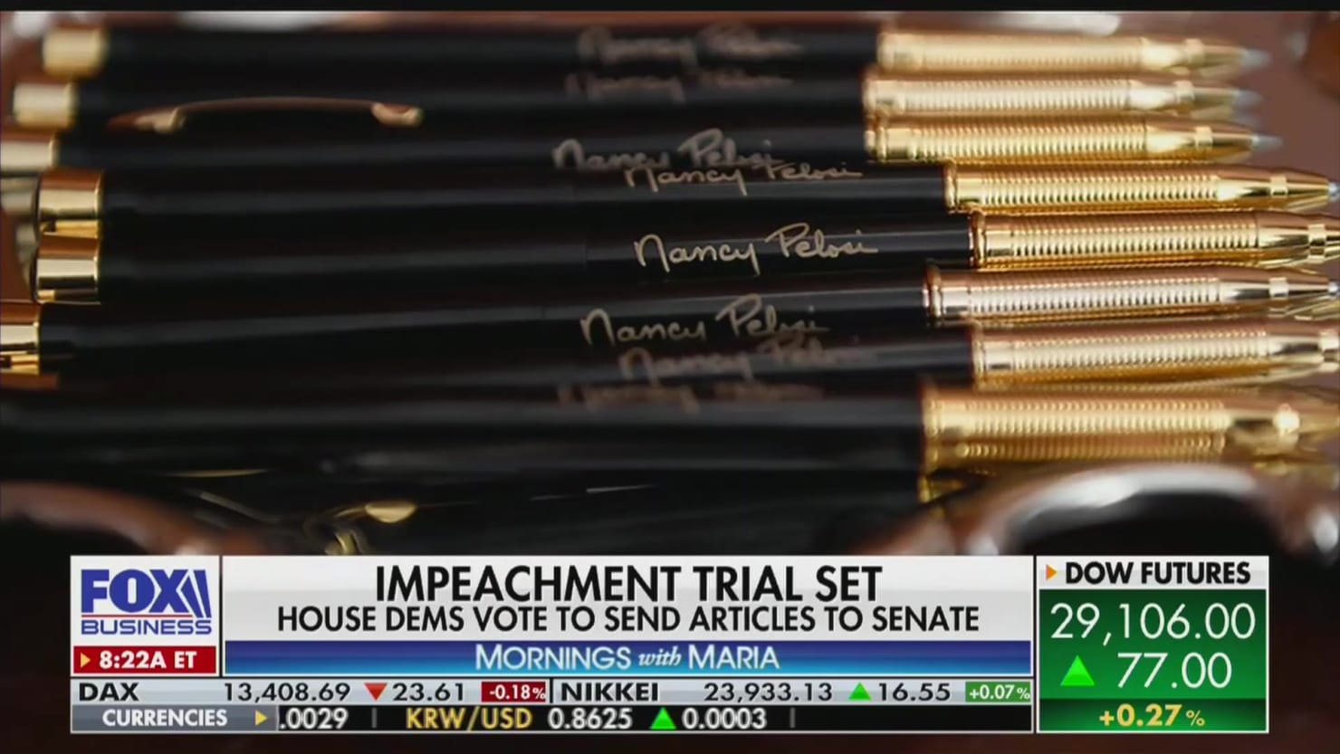 Fox's Maria Bartiromo Loses It Over Pelosi's Impeachment Pens, Says They 'Look Like Bullet Cases'