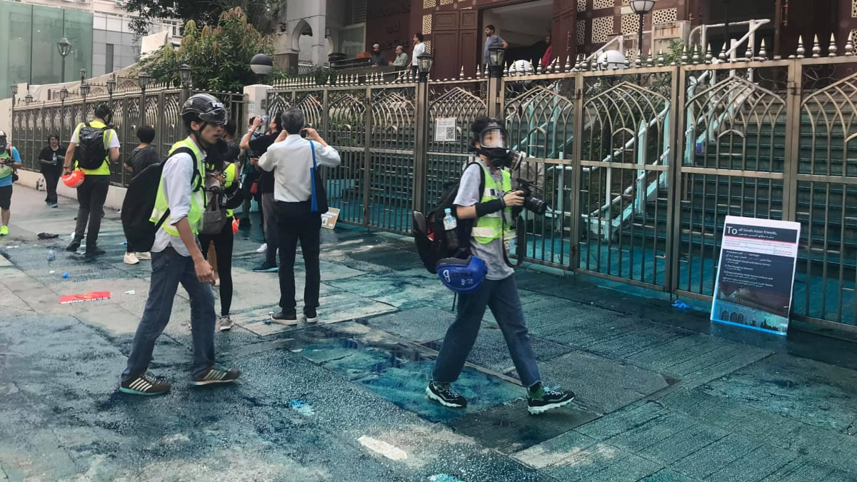 Hong Kong Leader Apologizes After Cops Fire Water Cannon at a Mosque