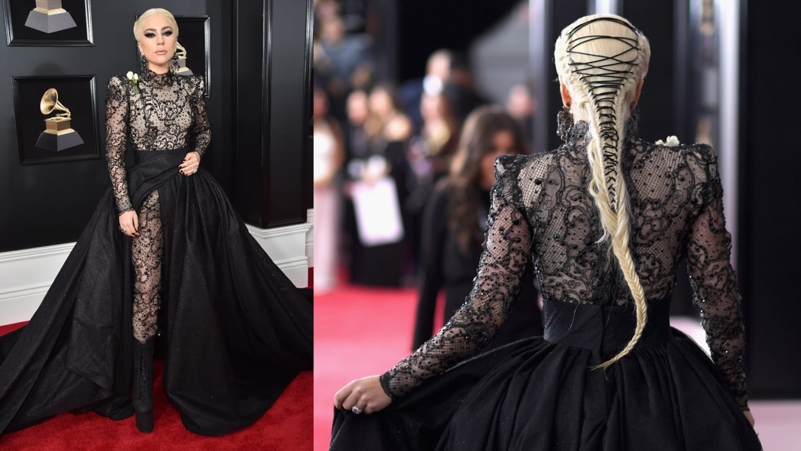 lady gaga s laced hair steals the grammys red carpet laced hair steals the grammys red carpet