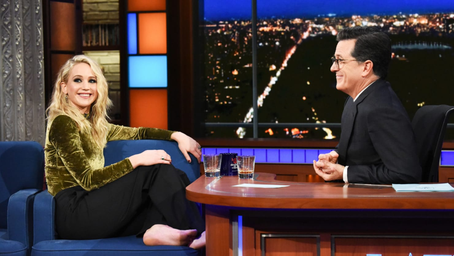 Jennifer Lawrence and Colbert Drunkenly Gossip About Harvey Weinstein and Larry David
