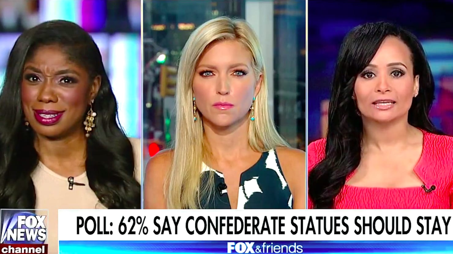 """Katrina Pierson (right) was only trying to help President Donald Trump. That's why she said slavery was """"good"""" on Fox & Friends this morning."""