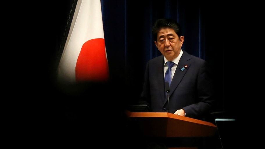 Japan's Prime Minister Shinzo Abe attends a news conference to announce snap election at his official residence.