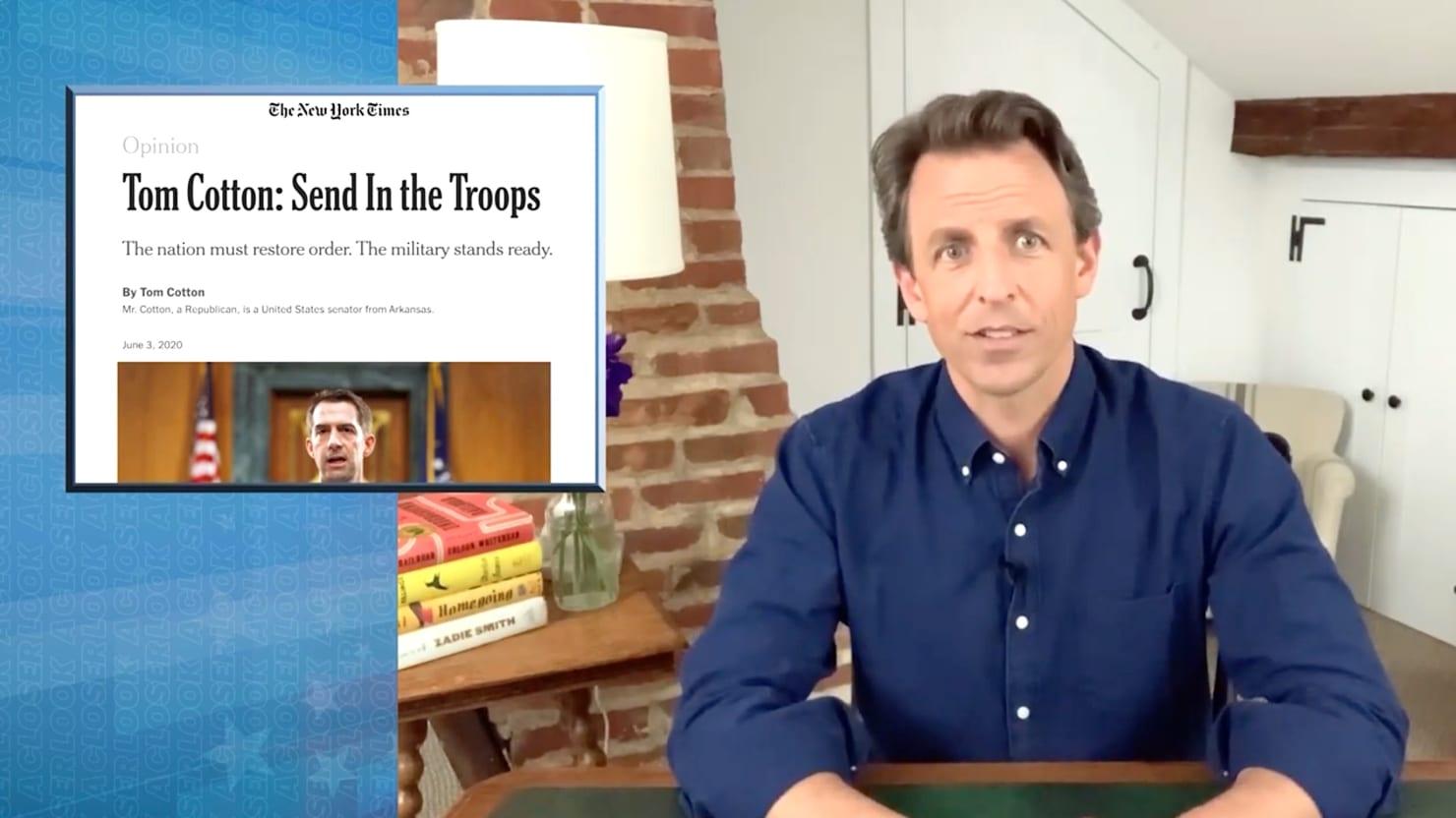 Seth Meyers Demolishes New York Times for Running 'Fascist' Tom Cotton Op-Ed