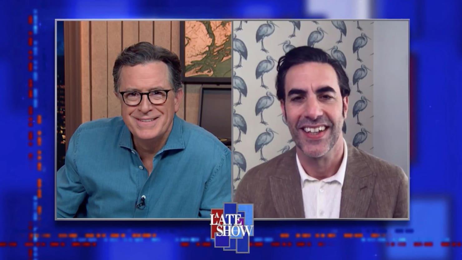 Sacha Baron Cohen Fires Back at Trump and Rudy Giuliani on 'Colbert'