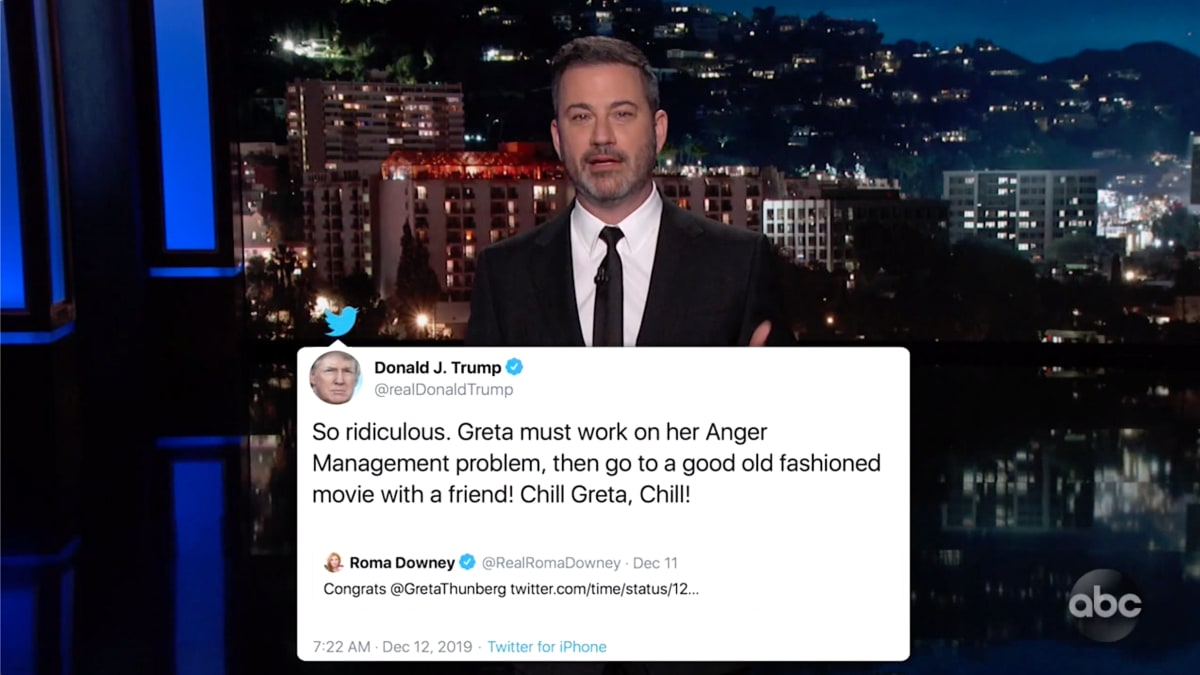 Jimmy Kimmel Unloads on 'Sweaty Old Man' Trump for Attacking Greta Thunberg