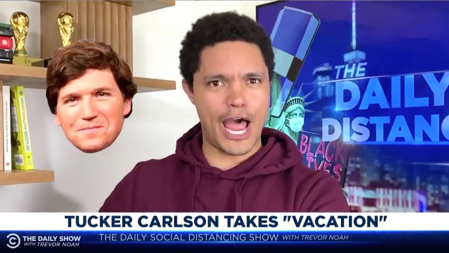 Trevor Noah Exposes 'Racist' Tucker Carlson's 'Long-Planned Vacation' Excuse