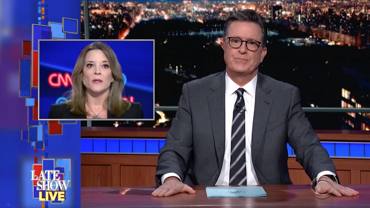 Stephen Colbert Goes After Marianne Williamson for Disturbing Anti-Vaxxer, AIDS Views