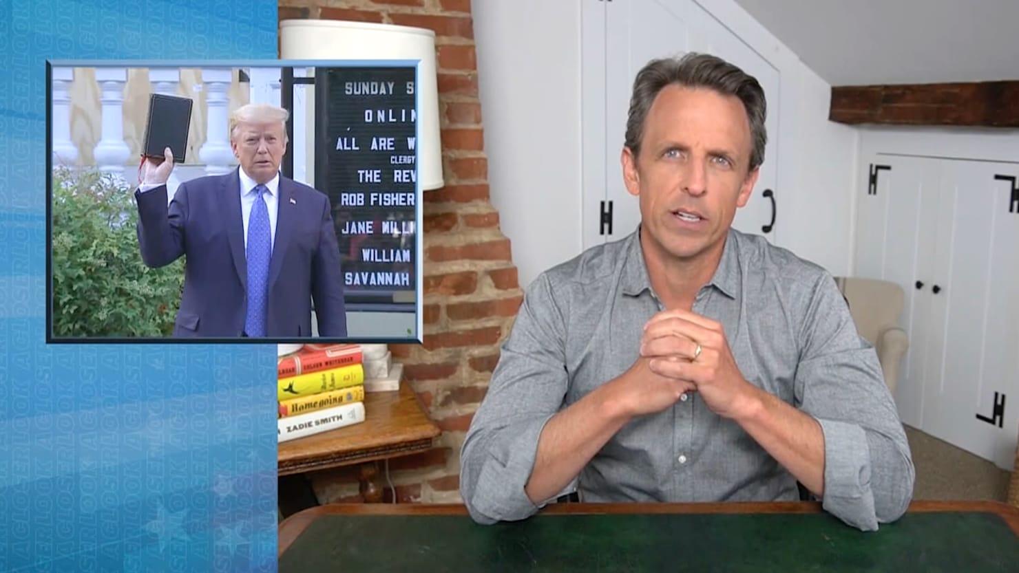 Seth Meyers Tears Apart Trump's 'Horrifying' Bible Photo-Op