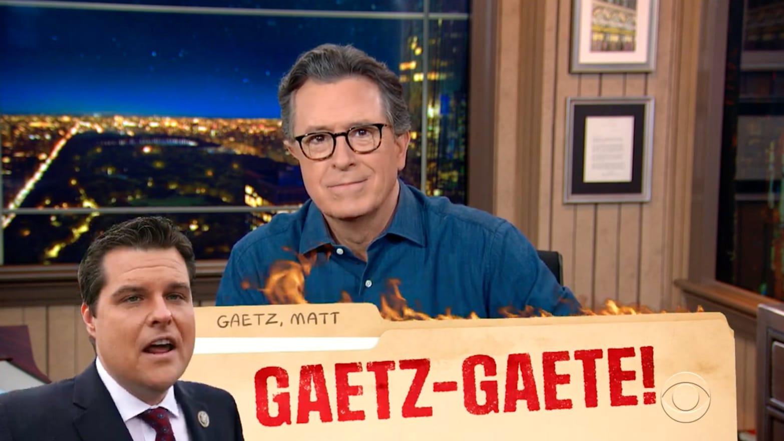 Stephen Colbert Absolutely Destroys Matt Gaetz's Trump Pardon Fail - The Daily Beast