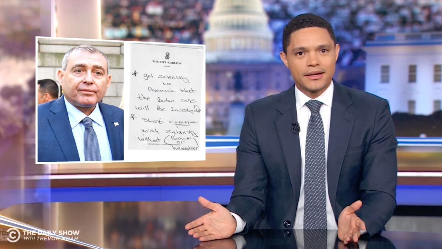 Trevor Noah Roasts Trump and Rudy Giuliani for Hiring Terrible 'Criminal' Lev Parnas