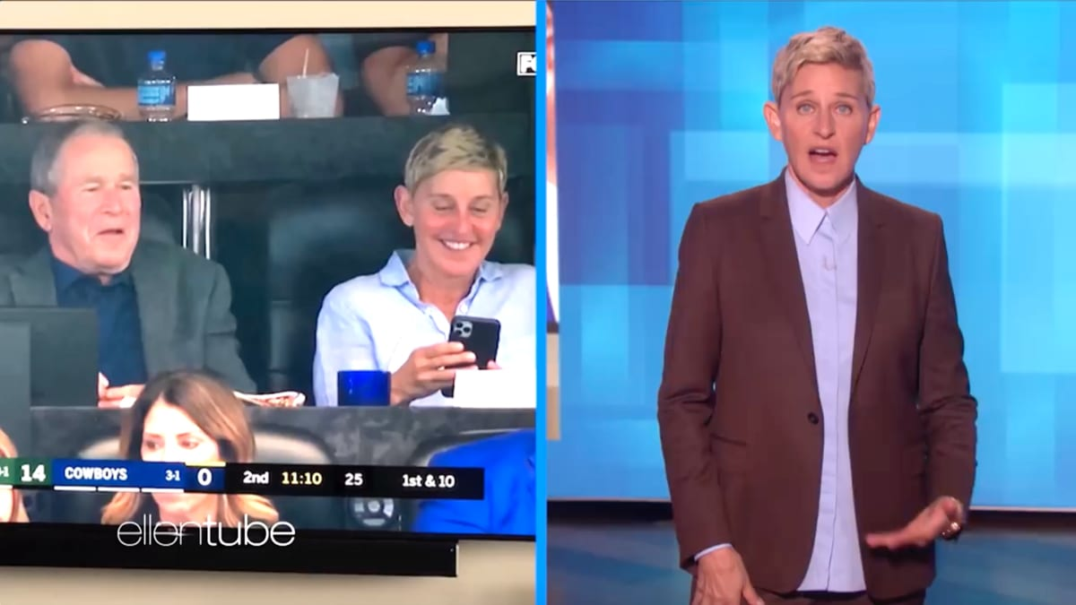 Ellen DeGeneres Defends Laughing It Up With George W. Bush at Dallas Cowboys Game