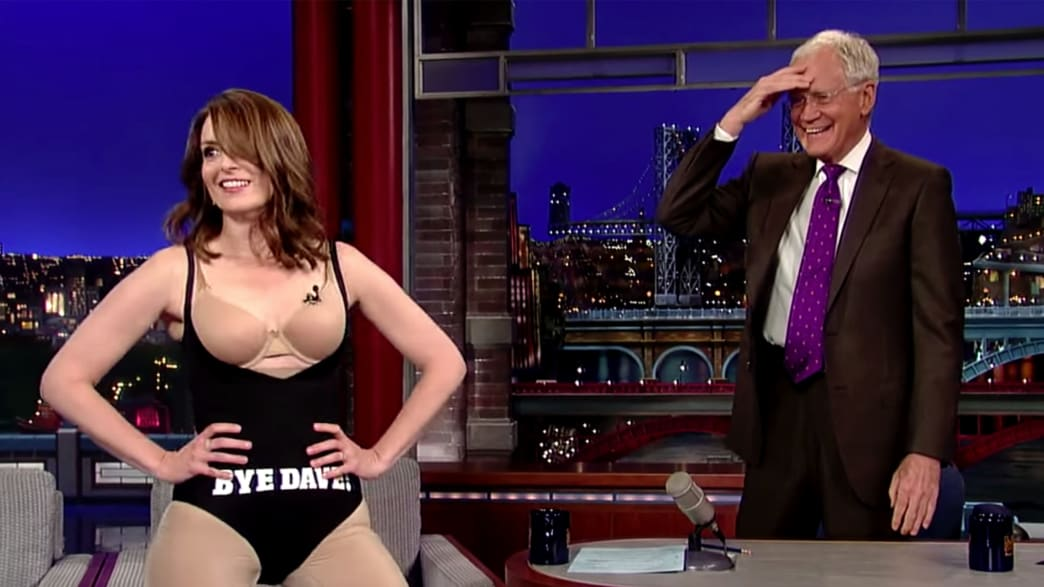 Tina Fey Takes Off Her Dress for Letterman