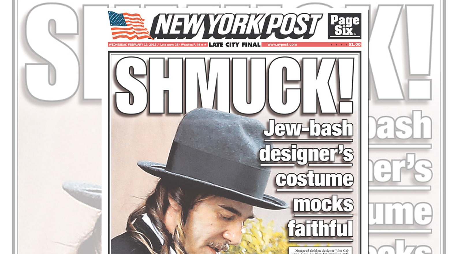 "John Galliano Is Called a ""Shmuck"" For Outfit That Allegedly Mocks Hasidic  Jews 2bab35784ff"