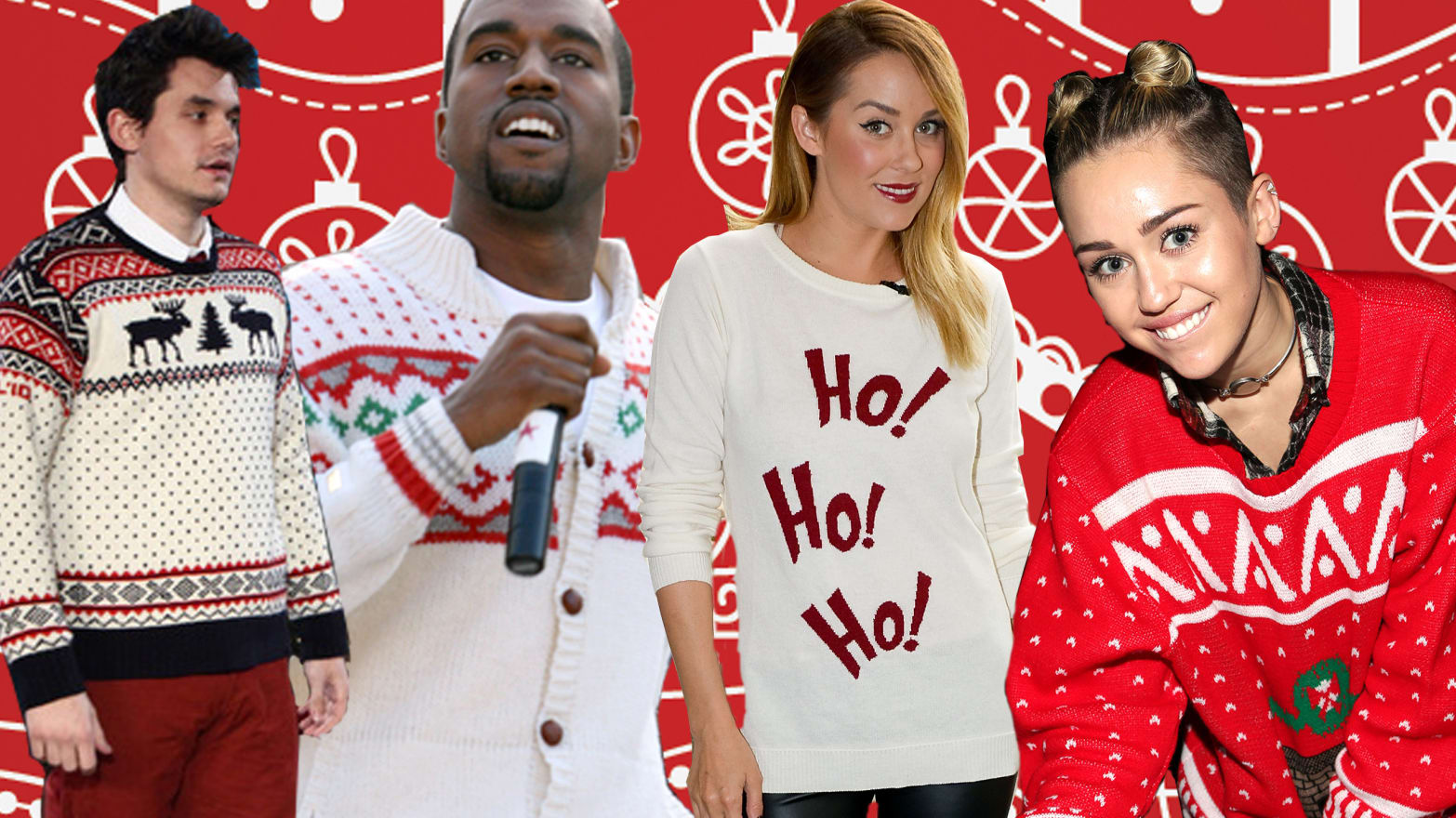 Horrible Christmas Sweaters.Miley Cyrus And Other Celebrities In Ugly Christmas Sweaters