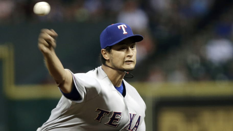 e0ad71f15 Texas Rangers  Yu Darvish pitches in the ninth inning on Tuesday. (Pat  Sullivan AP)