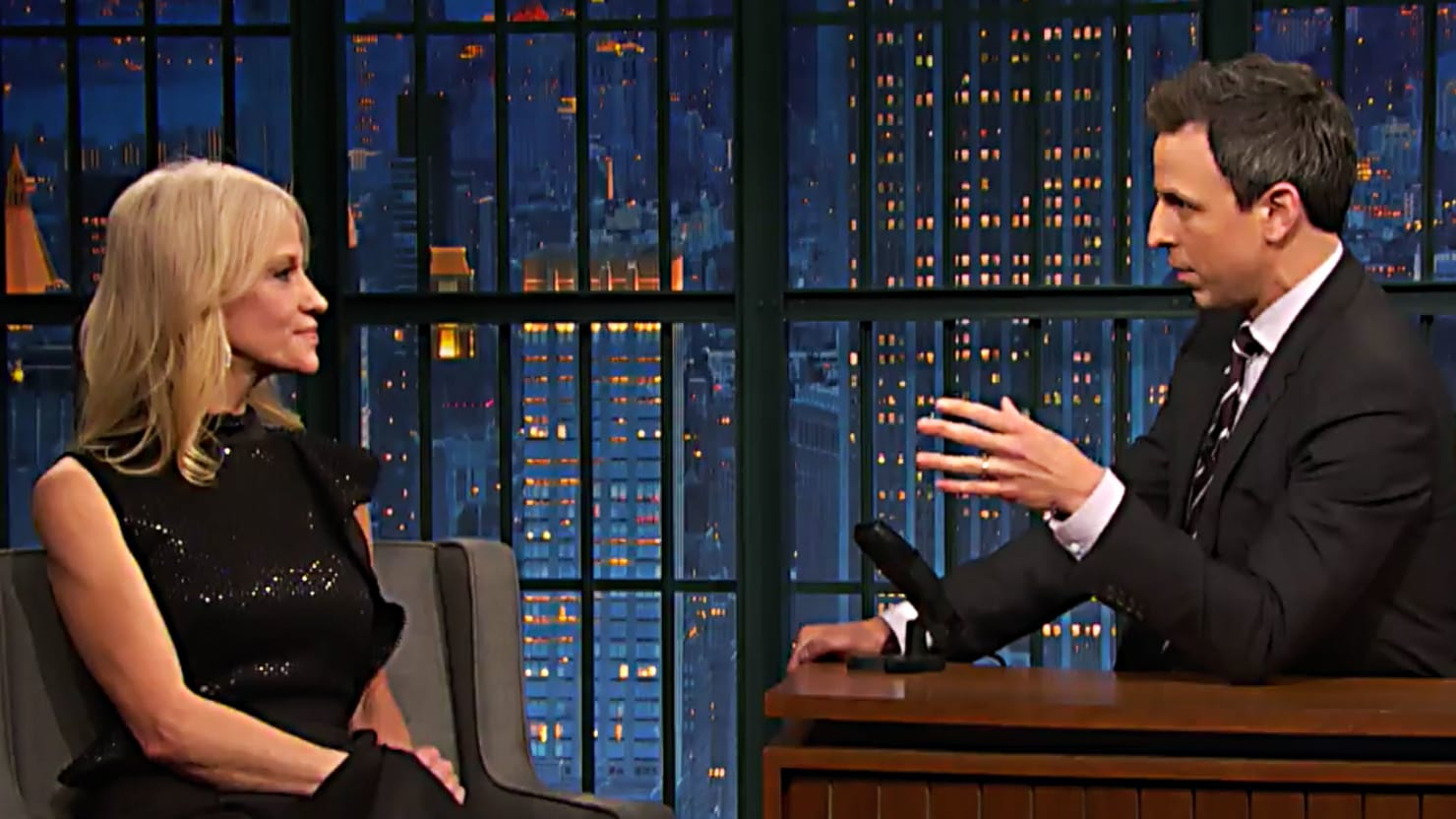 Seth Meyers Confronts Kellyanne Conway Over Alleged Russian Efforts to Blackmail Trump