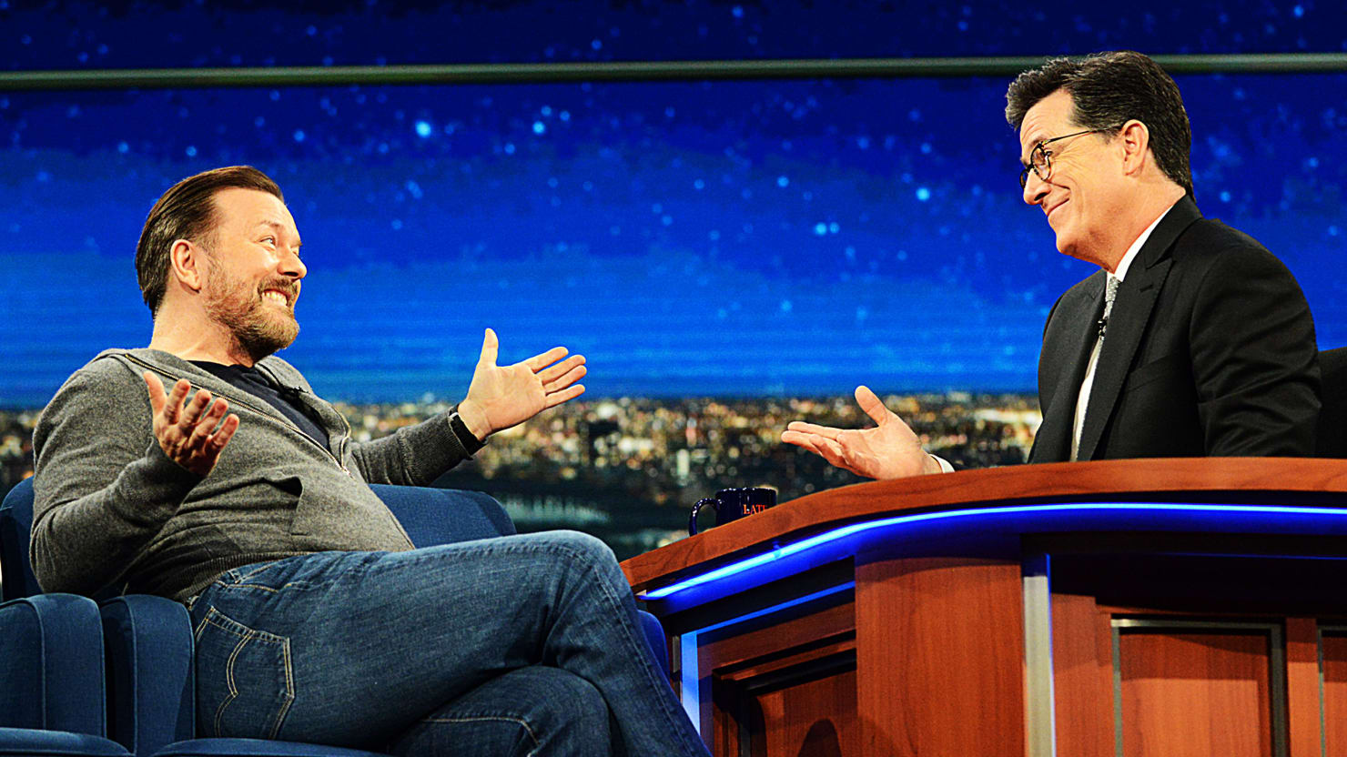 Stephen Colbert and Ricky Gervais Debate the Existence of God