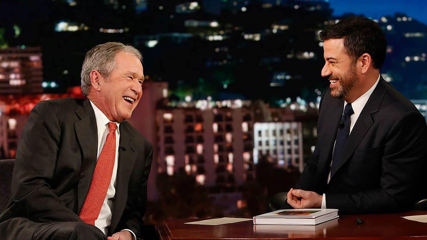 Jimmy Kimmel Fails To Press George W Bush On Trump