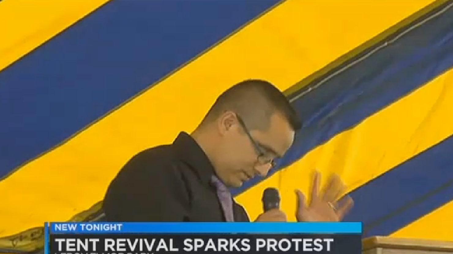 Texas Tent Revival Spews Hate Speech Across Public Park
