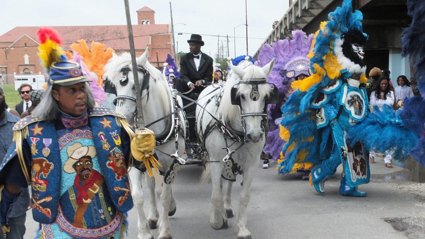mardi gras indian chief larry bannock�s final ride