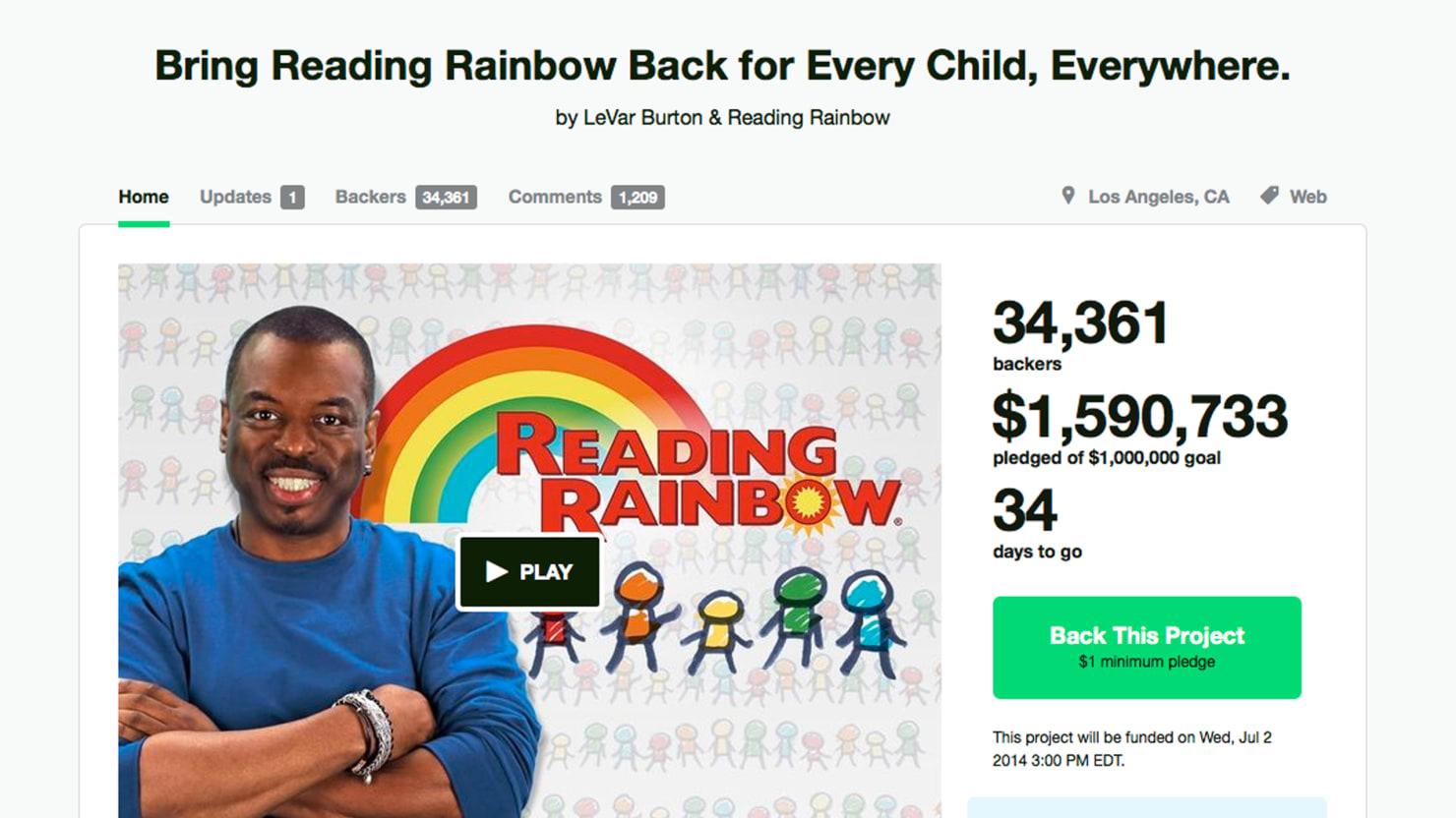 Reading Rainbow Kickstarter Hits 1 Million in 1 Day photo