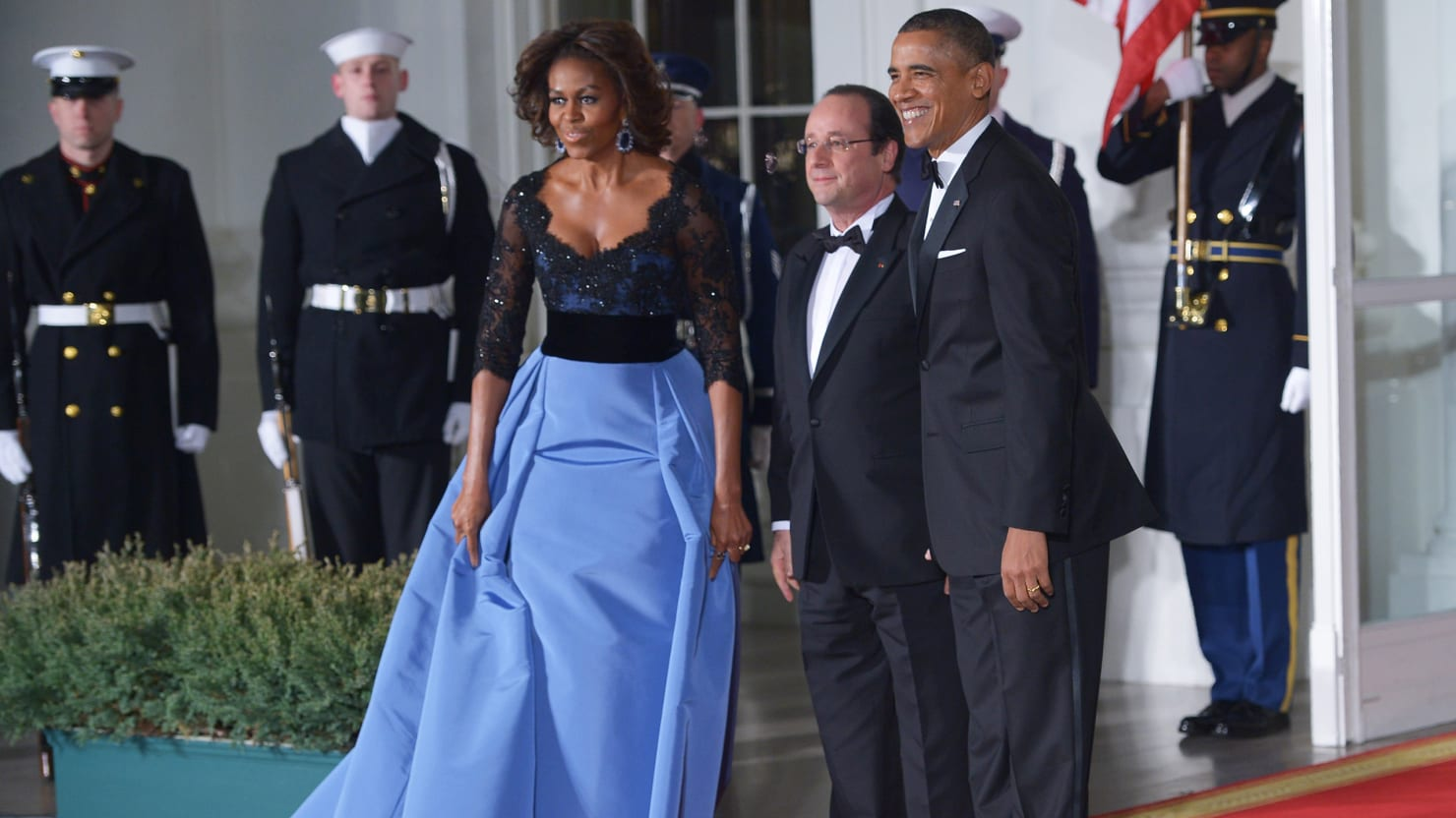 Michelle Obama Wore Carolina Herrera to State Dinner; 'Sports Illustrated' Models Make Flight Safety Video