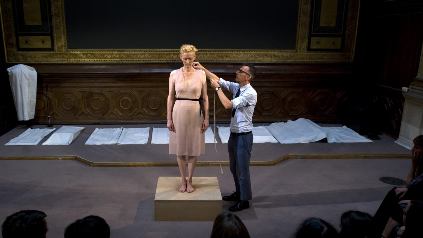 Tilda Swinton and Oliver Saillard Perform the Creation of Fashion in 'Eternity Dress'
