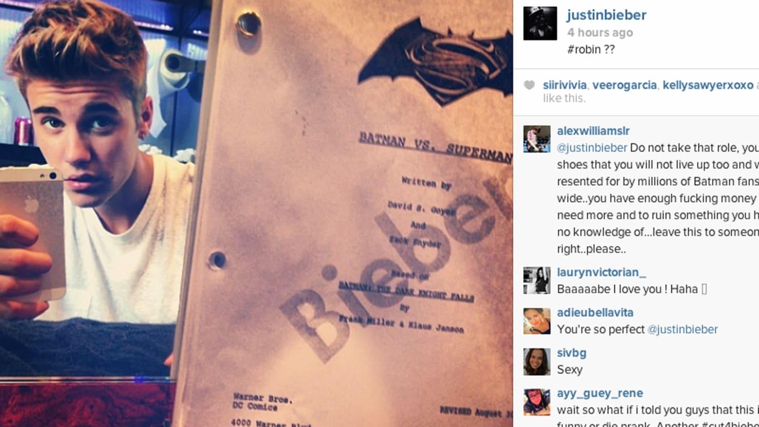 Justin Bieber to Join Ben Affleck in 'Batman vs. Superman'… as Robin?