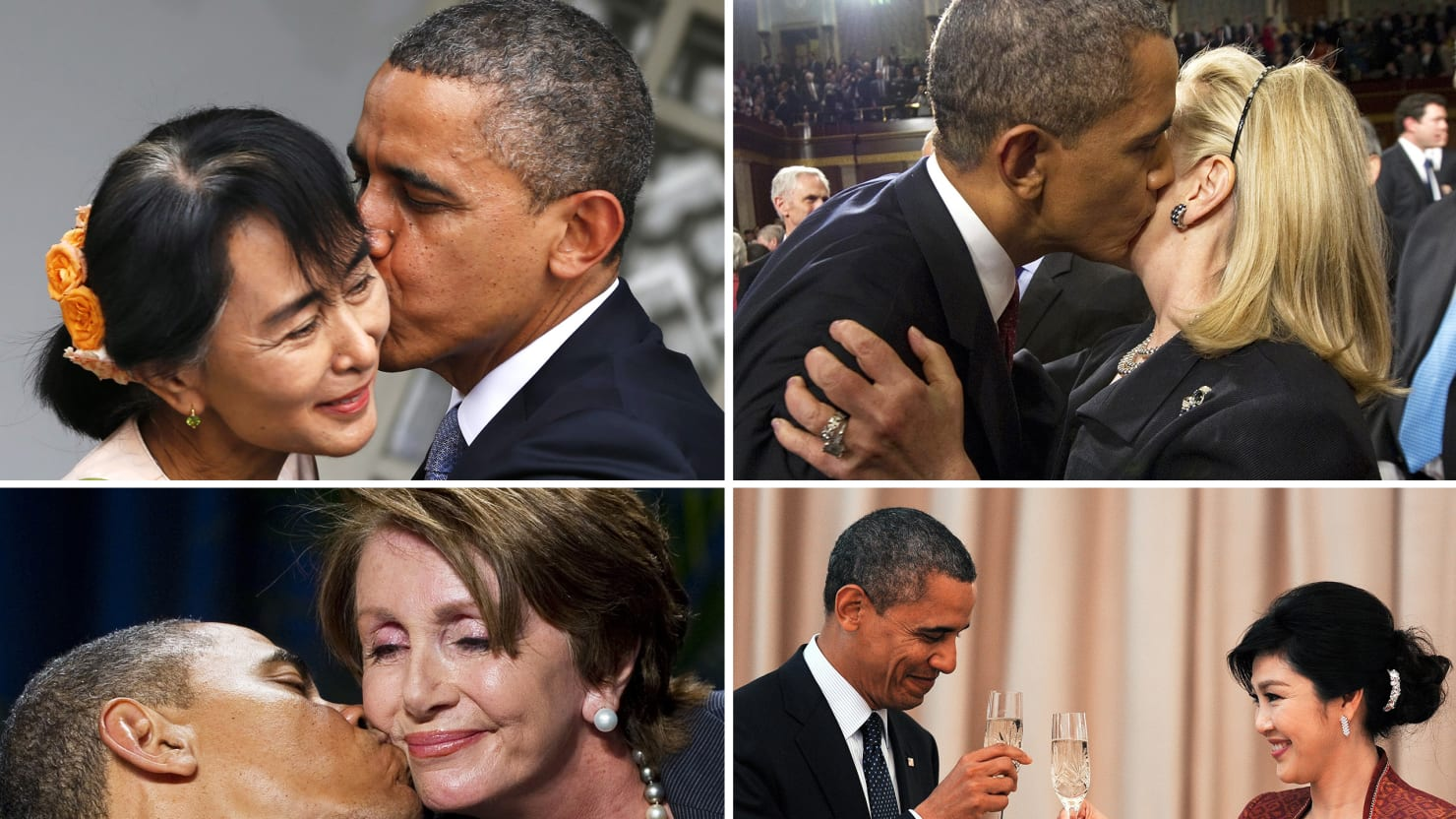 Awkward Obama Kisses Aung San Suu Kyi Hillary Clinton More Photos