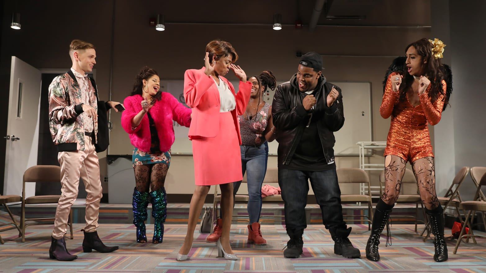Michael Lorz, Hailie Sahar, Sandra Caldwell, Lauren F. Walker, Michael David Baldwin, and Jojo Brown in CHARM at MCC Theater