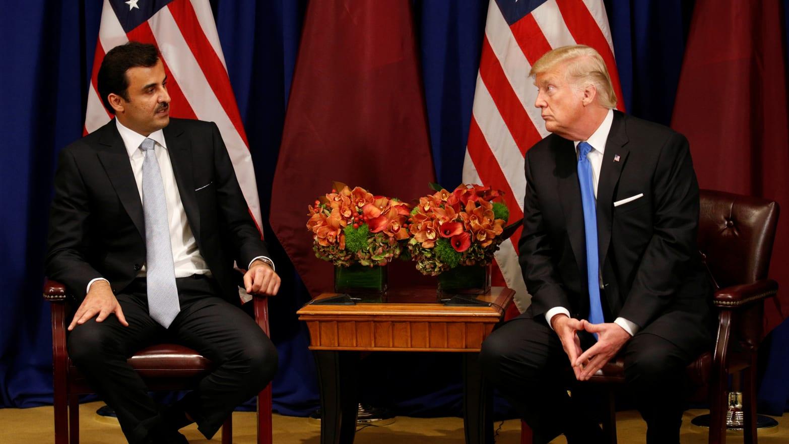 U.S. President Donald Trump meets with Qatar's Emir Sheikh Tamim bin Hamad al-Thani