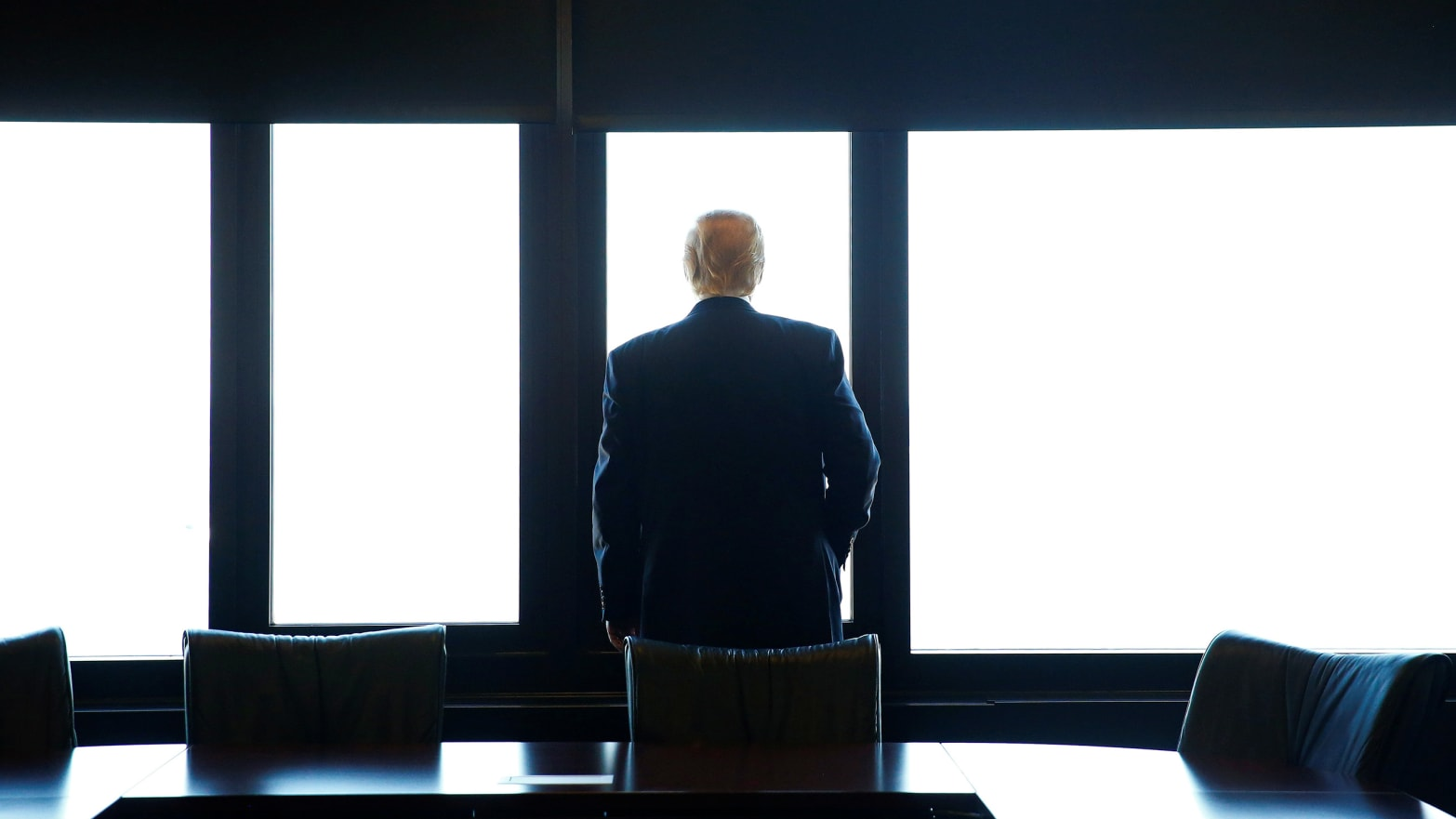 Republican U.S. presidential nominee Donald Trump looks out at Lake Michigan during a visit to the Milwaukee County War Memorial Center in Milwaukee, Wisconsin August 16, 2016.