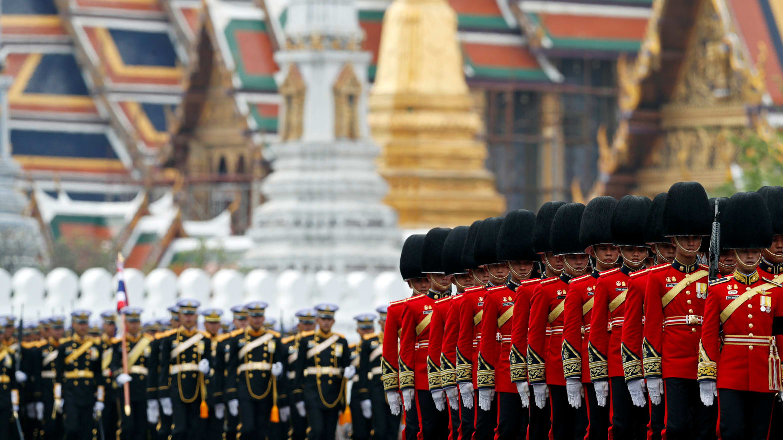 Royal Guards take part in the royal cremation procession of late King Bhumibol Adulyadej in front of the the Grand Palace in Bangkok, Thailand, October 26, 2017.