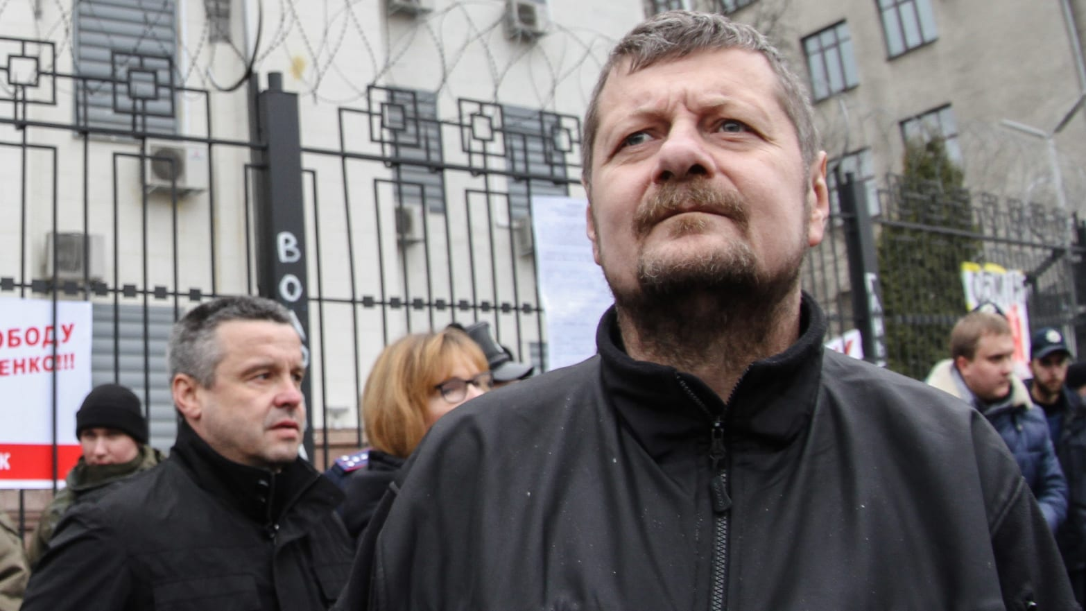 Radical Party member Igor Mosiychuk is seen during a rally in front of Russian Embassy. A Ukrainian lawmaker was wounded and his bodyguard killed on October 25, 2017 in a bombing attack that his party called an assassination attempt.