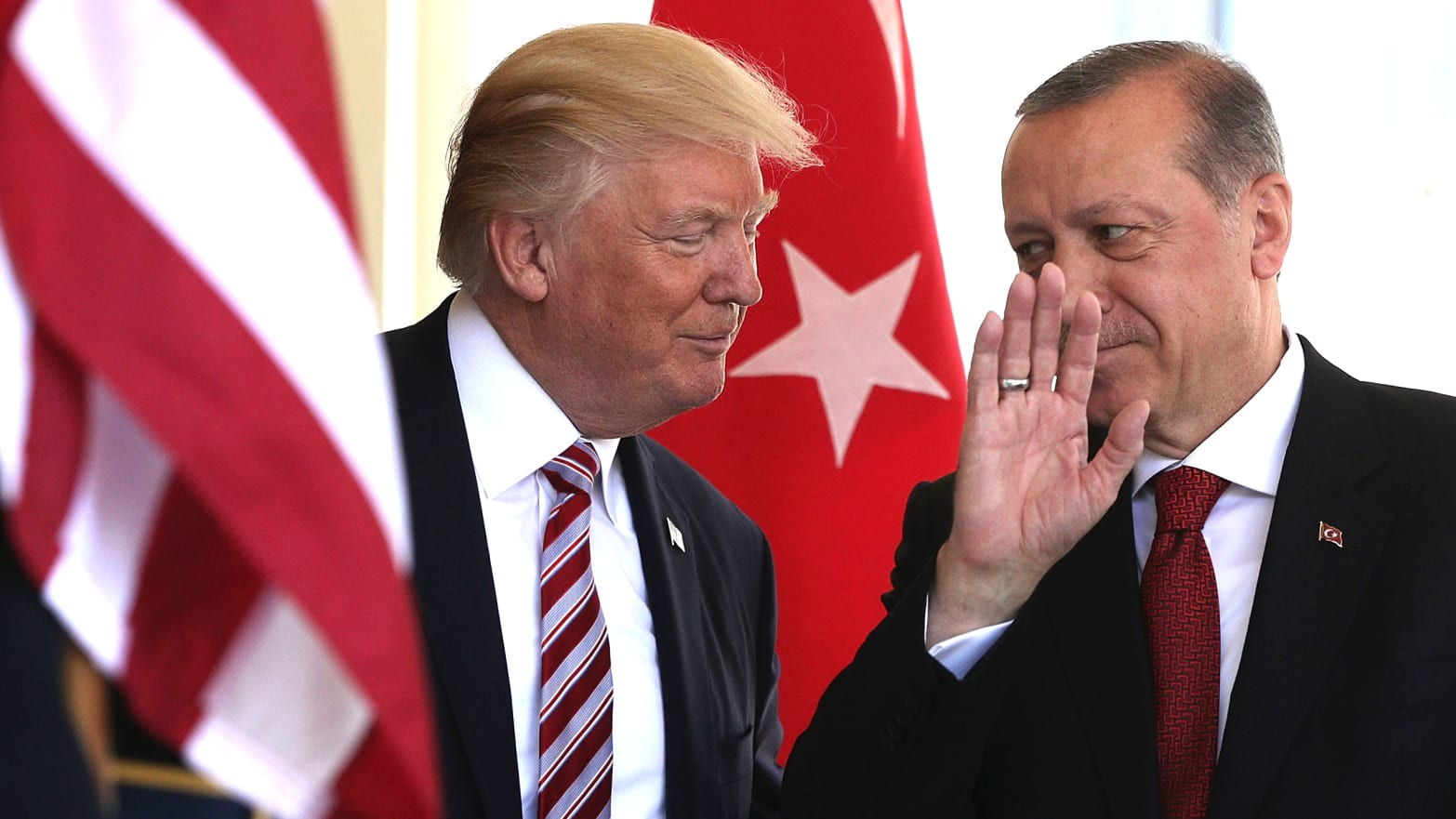 U.S. President Donald Trump (L) welcomes President Recep Tayyip Erdogan (R) of Turkey outside the West Wing of the White House May 16, 2017 in Washington, DC.