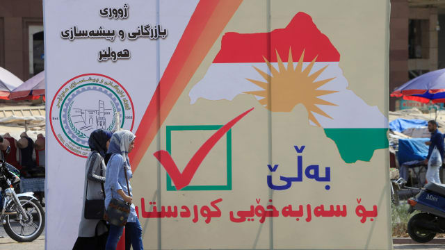 The referendum for independence for Kurdistan in Erbil, Iraq