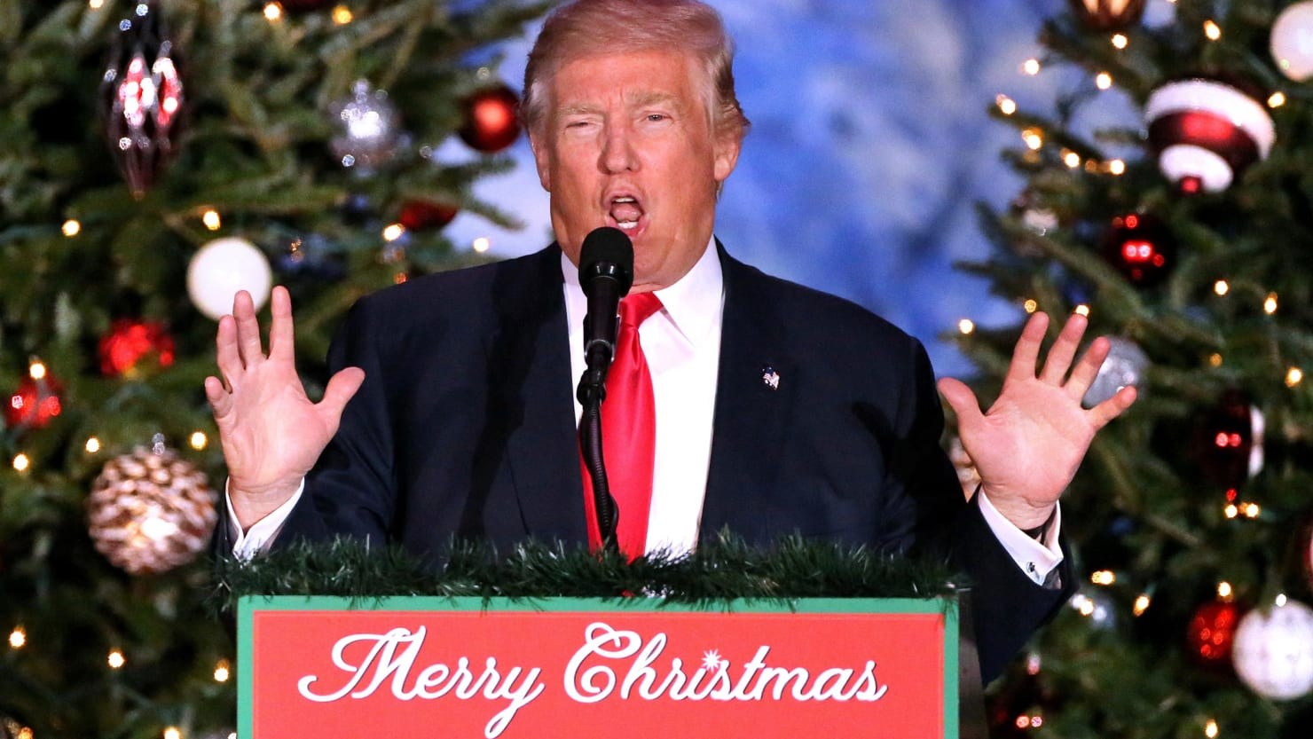 donald trump surrenders in the war on christmas