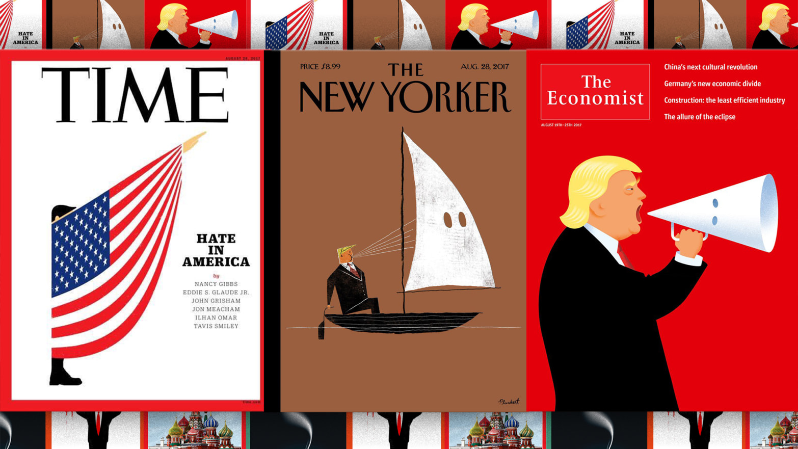 The New Yorker, Time and Economist magazines inevitably wanted to feature Donald Trump's white supremacy speech on their covers. Then the challenge was to find the perfect image.