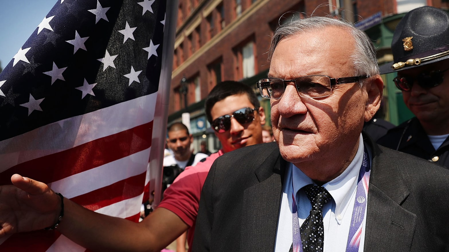 Maricopa County Sheriff Joe Arpaio is surrounded by protesters and members of the media at the the site of the Republican National Convention (RNC) in downtown Cleveland on the second day of the convention.