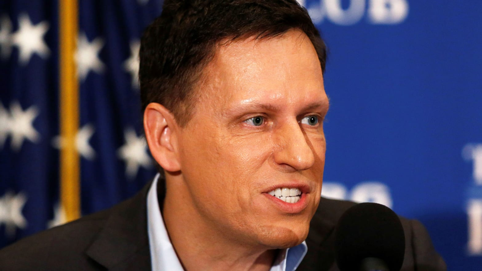 PayPal co-founder and Facebook board member Peter Thiel delivers his speech on the U.S. presidential election at the National Press Club in Washington