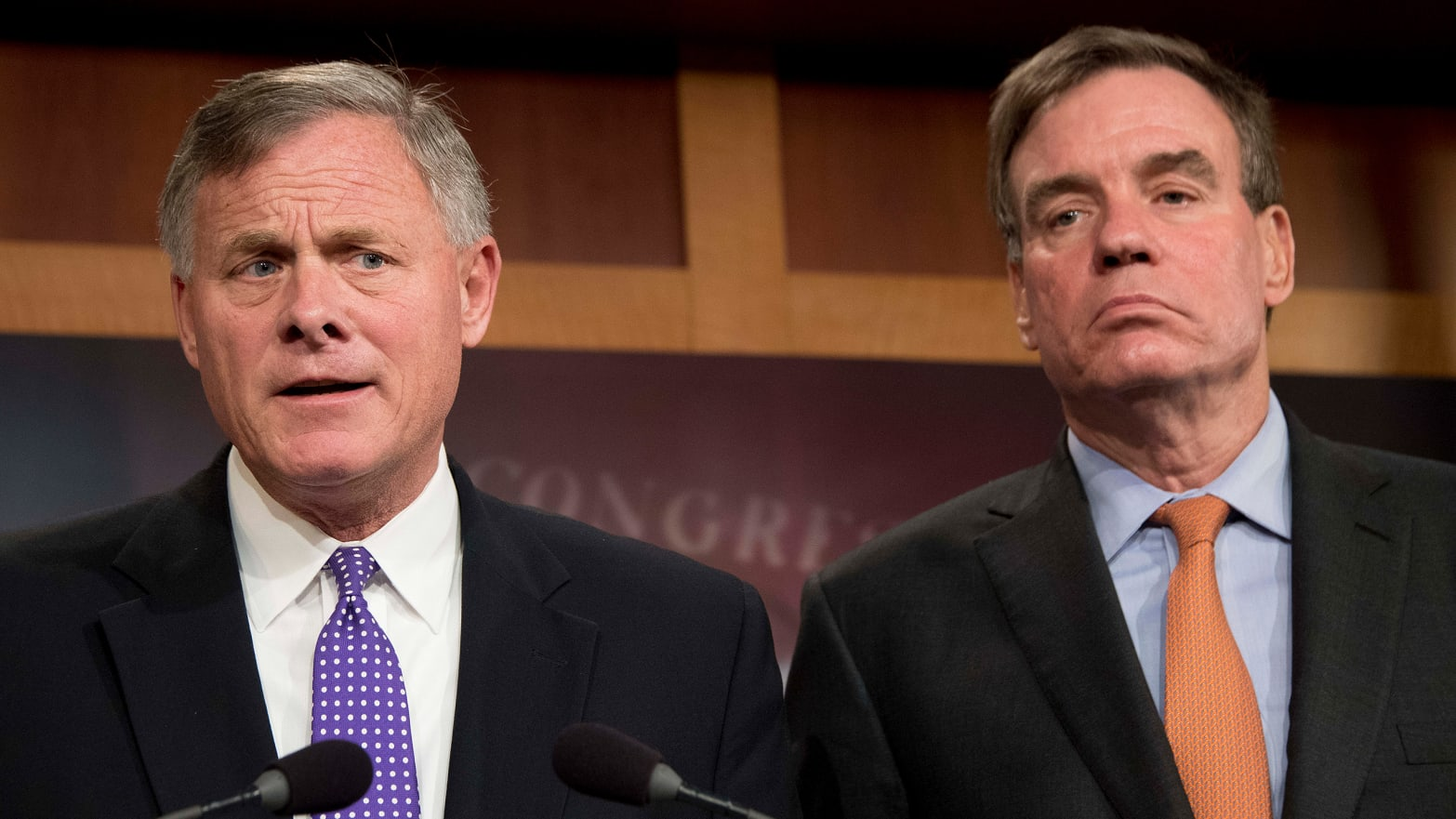 Senate Intelligence Chairman Richard Burr (L), R-N.C.; and Senate Intelligence Vice Chair Mark Warner, D-Va., hold a news conference on the status of the committee's inquiry into Russian interference in the 2016 election.