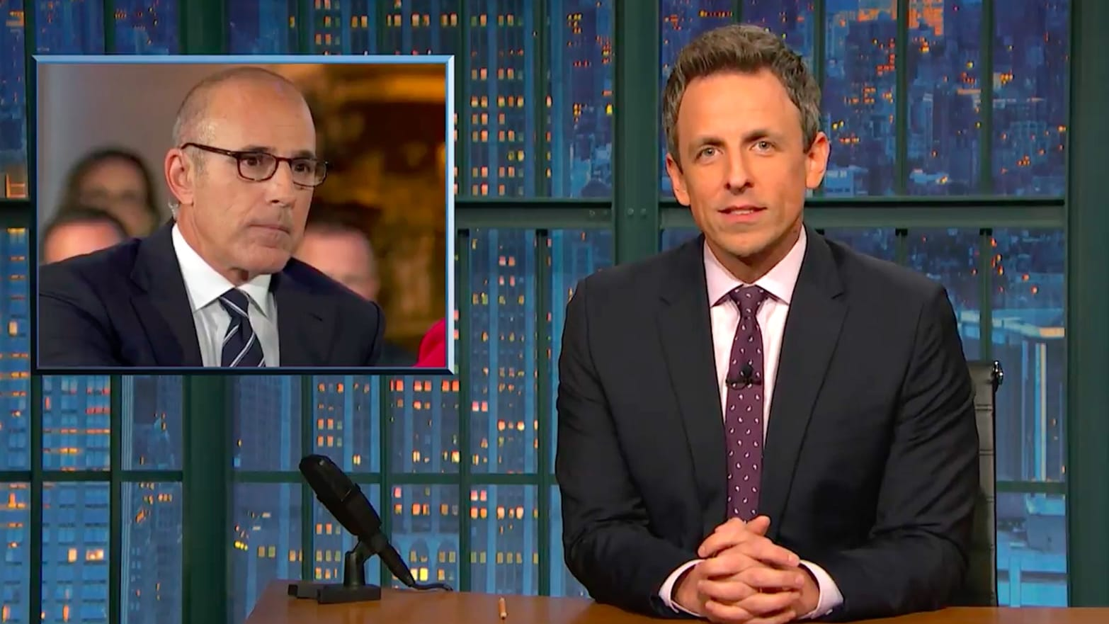 Where In World Is Matt Lauer Who Cares >> Seth Meyers Goes All In On Nbc S Matt Lauer