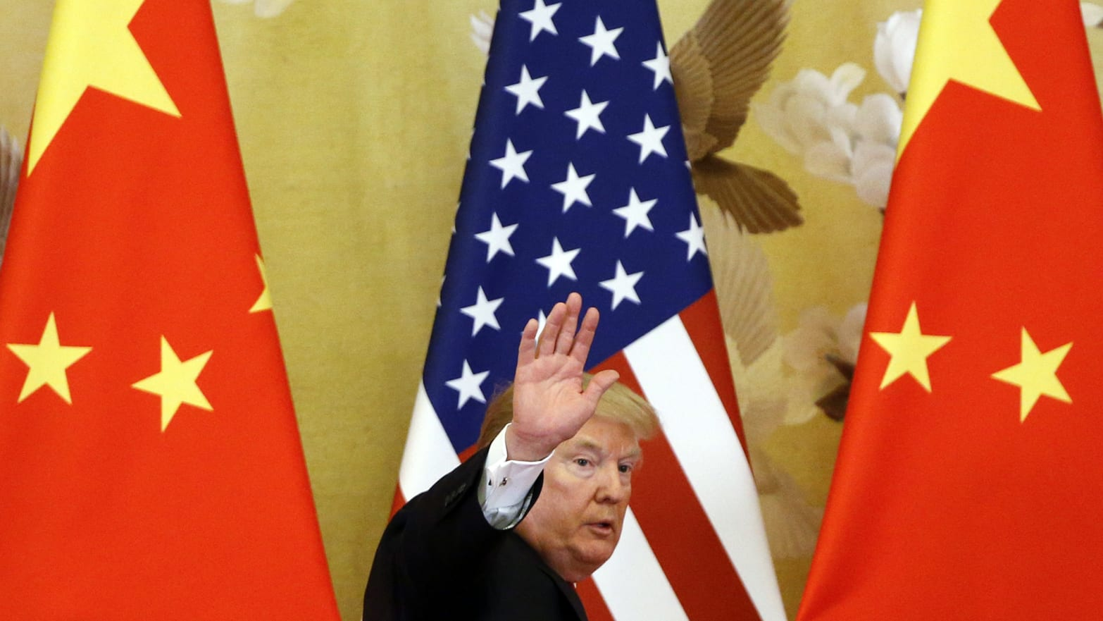 U.S. President Donald Trump and China's President Xi Jinping (not shown) make a joint statement at the Great Hall of the People on November 9, 2017 in Beijing, China. Trump is on a 10-day trip to Asia.