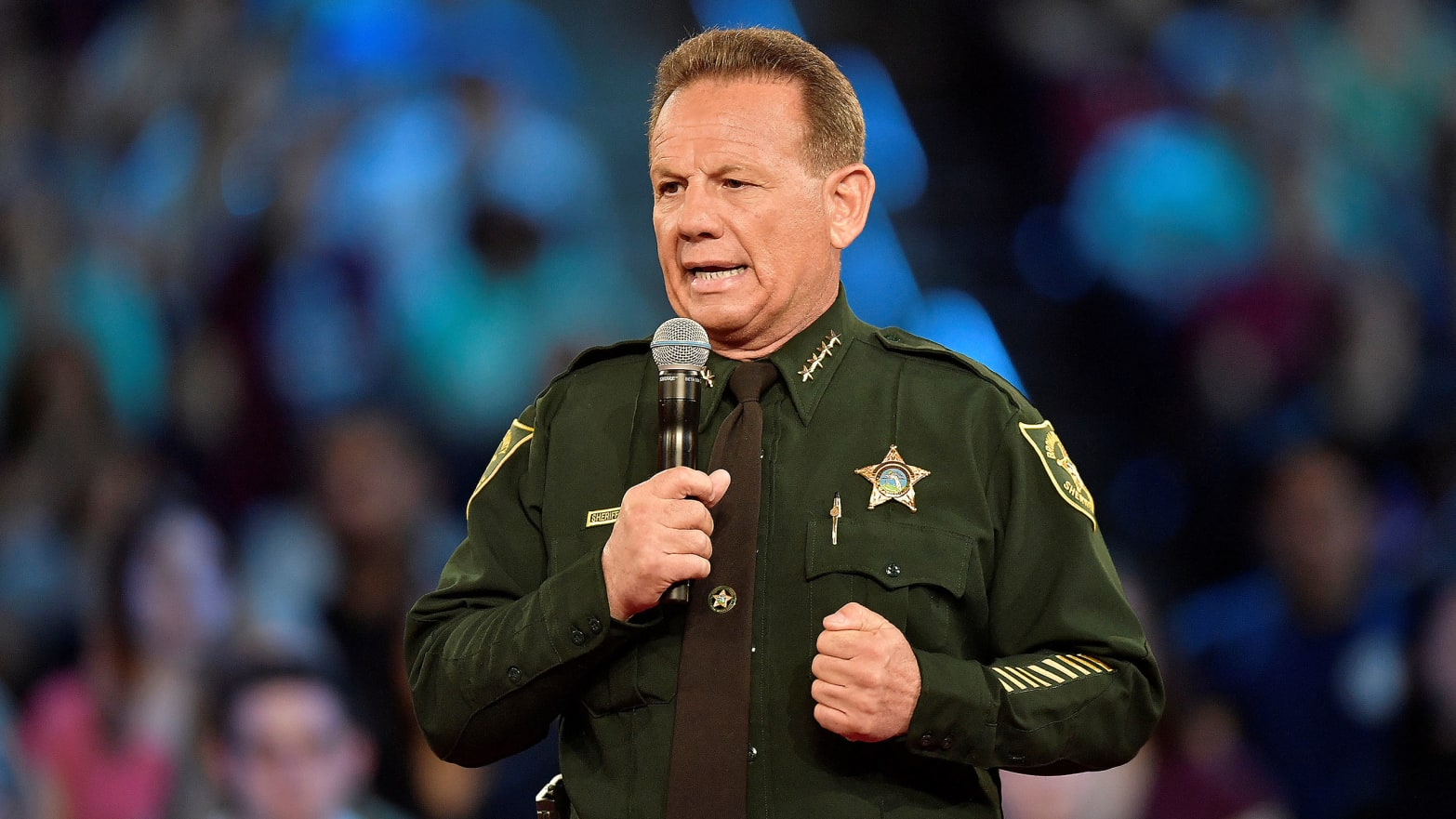 Broward County Sheriff Scott Israel speaks before the start of a CNN town hall meeting at the BB&T Center, in Sunrise, Florida