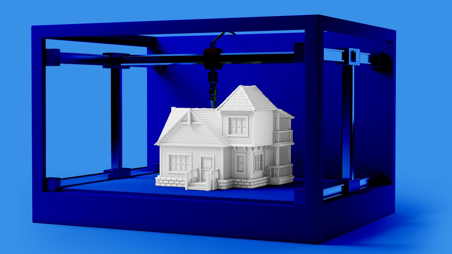 simulated white house in blue cage printer 3d printed house new story icon poor el salvador honduras poverty