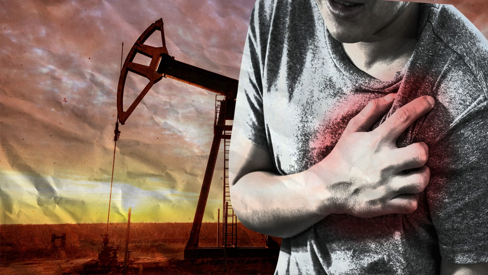 image of man holding clutching chest oil energy drill behind fracking heart disease attack microbe plaque environment movement